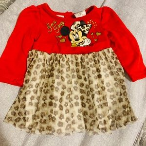 DISNEY Baby Minnie Mouse Red Girls Dress 6-9M